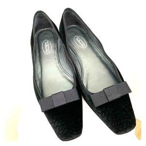 Talbots Black Velvet Flats Size 8M Square Toe Bow